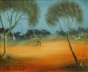 Sale 8704 - Lot 544 - Kevin Charles (Pro) Hart (1928 - 2006) - Working in the Outback 24 x 29.5cm