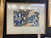 Sale 9004 - Lot 2016 - A Japanese Woodblock Print After Yoshitaki of Three Kabuki Actors , 58 x 43cm, frame