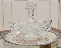 Sale 9098H - Lot 50 - A silver plated engraved drinks tray bearing a cut crystal decanter and three sherry glasses, Height of decanter 20cm