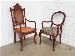 Sale 9146 - Lot 1078 - Timber carver chairs x 2 (h:93 x w:52 x d:46cm)