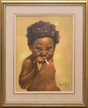 Sale 8368A - Lot 8 - Loyola - Untitled (Young Boy Smoking) 29 x 21.5 cm