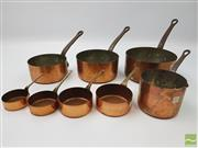 Sale 8439F - Lot 1802 - Set of Four Copper Saucepans Plus Set of Four Miniature Saucepans (Largest H 17cm, Smallest 10cm - Miniatures Largest H 9cm, Smalles...