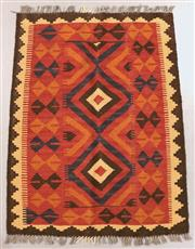 Sale 8438K - Lot 3 - Maimana Afghan Kilim Rug | 107x80cm, Pure Wool, Handwoven in Northern Afghanistan using durable local wool. Traditional slit weave k...