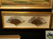Sale 8627 - Lot 2076 - Framed Pair of Decorative Chinese Fans, hand coloured, 37.5 x 101cm (frame size)