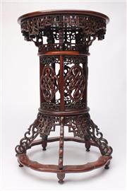 Sale 8689 - Lot 24 - Rosewood Carved Oriental Stand