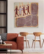 Sale 8786 - Lot 583 - Linda Syddick Napaltjarri (1937 - ) - Ancestral Owl Spirit 120 x 125cm
