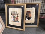 Sale 8789 - Lot 2116 - Pair of Ancient Egyptian Style Papyrus Paintings, each 37 x 31.5cm, signed lower left
