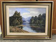 Sale 9024 - Lot 2090 - Bonnie Stephens Chastings River, Luneday reflections oil on canvas laid on board, frame: 64 x 84 cm, signed lower right -