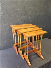 Sale 9048 - Lot 1020 - Nest of Three Yewwood Side Tables, with cross-banded edge & finely turned legs (h:56 x w:51 x d:35cm)