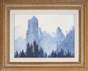 Sale 9058 - Lot 2002 - Dudley Parker (1914 - 1989) - Fire in the Nimbin Peaks 19 x 26.5 cm (frame: 32 x 39 x 3 cm)