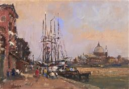 Sale 9084 - Lot 590 - William Davies (1928 - ) - Tall Ships on the Guidecca Canal, Venice 34.5 x 50 cm (frame: 54 x 70 x 5 cm)