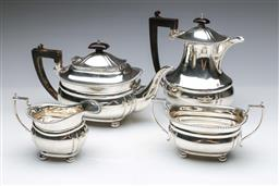 Sale 9093 - Lot 55 - Scottish Hallmarked Sterling Silver Four Piece Tea suite with gadrooned borders Edinburgh c1931 By R.S (total combined wt. 1.701kg)
