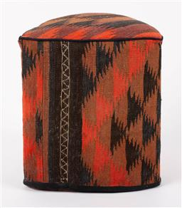 Sale 9199J - Lot 87 - A vintage Kilim footstool of triangular form in browns and reds, Height 48cm