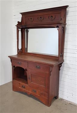 Sale 9154 - Lot 1002 - Art Nouveau mirrored back sideboard (h:204 x w:136 x d:50cm)