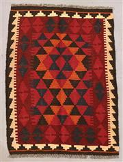 Sale 8438K - Lot 4 - Maimana Afghan Kilim Rug | 102x75cm, Pure Wool, Handwoven in Northern Afghanistan using durable local wool. Traditional slit weave k...