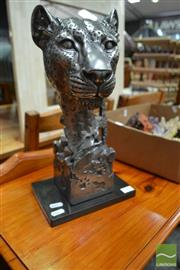 Sale 8480 - Lot 1104 - Silvered Panther Head Statue