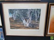 Sale 8544 - Lot 2008 - Artist Unknown Gum Tree Landscape, 1990, pastel 76 x 96 (frame size) signed and dated lower right