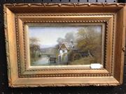 Sale 8663 - Lot 2099 - Small Framed Oil of a Water Mill