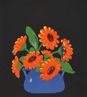 Sale 8675A - Lot 5006 - John Hall Thorpe (1874 - 1947) - Marigolds II 19 x 17cm