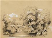 Sale 8702 - Lot 2074 - Artist Unknown (2 Works) - River Scene; River Scene with Bridge, 1885 29 x 40cm, each