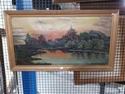 Sale 8699 - Lot 2077 - Schmidt - Cottage by Lake, oil on canvas (AF), 39 x 77.5cm (frame size), signed lower right