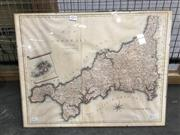 Sale 8754 - Lot 2079 - Antique Map A Map of Cornwall hand-coloured engraving (43.5 x 56cm)