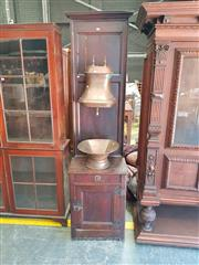 Sale 8868 - Lot 1163 - 19th Century French Stained Pine & Copper Water Fountain, the tall cabinet suspending the covered cistern with a bowl below, having...