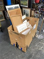 Sale 8891 - Lot 2094 - Box of Assorted Artworks incl. original watercolours, decorative prints and photograph, chinese paper rubbings, box not included