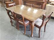 Sale 8959 - Lot 1030 - Art Deco Dining Table over Cabriole Legs with 6 Chairs (H:75 x L:115 x W:90cm)