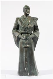 Sale 9007 - Lot 92 - A Large Plaster Figure of A Japanese Samurai (H 50cm, some losses)