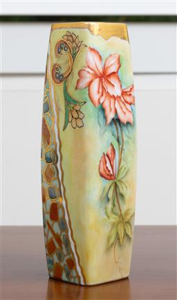 Sale 9140H - Lot 76 - A hand painted floral ceramic vase by Babette Rich Sydney with gilt rim and decorations, Height 23.5cm