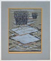 Sale 8349A - Lot 119 - Fumo Fujita (1933 - ) - Trees in Landscape, 1970 39 x 27.5cm