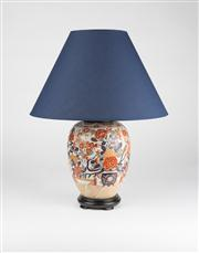 Sale 8350L - Lot 58 - A pair of hand painted polychrome urn lamps with floral motifs, with navy shades on timber base, total H 51cm, RRP $ 620