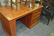 Sale 8383 - Lot 1449 - Timber Kneehole Desk with Three Drawers