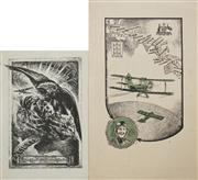 Sale 8433 - Lot 2086 - (2 works) George Hartley Brown Bookplate of Sir Charles Kingsford Smith, etching, signed in block, & Another Bookplate of Amy G Jo...