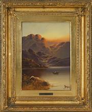 Sale 8459 - Lot 580 - James Boel (XIX - XX) - Untitled, 1909 (Floating on a Highland Lake) 34.5 x 24.5cm