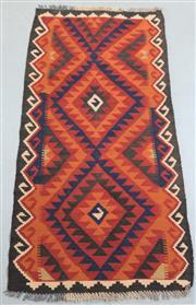 Sale 8438K - Lot 5 - Maimana Afghan Kilim Rug | 188x85cm, Pure Wool, Handwoven in Northern Afghanistan using durable local wool. Traditional slit weave k...