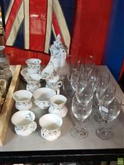 Sale 8582 - Lot 2438 - Royal Albert Brigadoon Tea Set for 6 with Boda Wine & Water Glasses