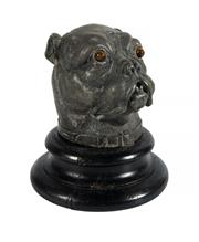 Sale 8586A - Lot 110 - An antique cast metal bull dog head inkwell on timber base, 15cm