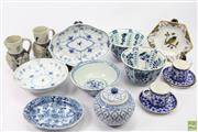 Sale 8635 - Lot 66 - A quantity of mainly European blue and white ceramics including Delft bowls, German jugs, Danish footed bowl and lozenge trinket etc