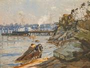 Sale 8665 - Lot 545 - Will Ashton (1881 - 1963) - Ferry Stop, Sydney Harbour 28 x 37cm
