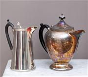 Sale 8741A - Lot 31 - An EPNS JC & co coffee pot of tapering cylindrical form with fleur de lis thumb piece H x 16cm together with a paramount baluster ex...