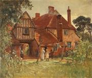 Sale 8929 - Lot 545 - Albert H Fullwood (1863 -1920) - Old Flemish Houses, Essex, 1911 50 x 60 cm