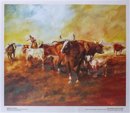 Sale 9002A - Lot 5061 - Hugh Sawrey (1919 - 1999) - Kidman Cattle - Bringing Up The Tail End Of The Mob Urandangie Stock Route 37.5 x 45.5 cm