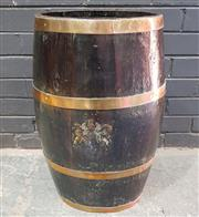 Sale 9031 - Lot 1048 - 19th Century Brass Bound Barrell, of compressed oval section, with traces of a British Royal crest (H: 62 cm)