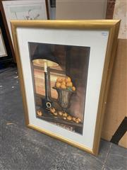 Sale 9028 - Lot 2057 - Artist Unknown Regency Lamp, Classical Urn and Orangeswatercolour 80 x 60xm (frame) signed lower right