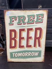 Sale 9051 - Lot 1068 - Canvas Sign Free Beer Tomorrow (H:41cm)