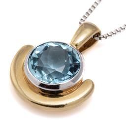 Sale 9115 - Lot 396 - AN 18CT GOLD AQUAMARINE PENDANT NECKLACE; rub set in white gold with an approx. 2ct round cut aquamarine on a yellow gold crescent b...