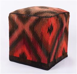 Sale 9199J - Lot 88 - A vintage kilim footstool of box form in browns and reds, Height 51cm
