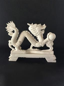 Sale 9175G - Lot 77 - Carved Stone Dragon Statue.General Wear, Marks,Slight Chipping.Size 29cm L.
